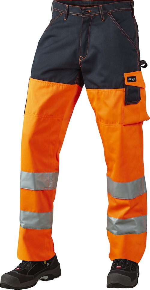Arbejdsbukser, HI-VIS, kl. 2, 11106 - Orange/Marine