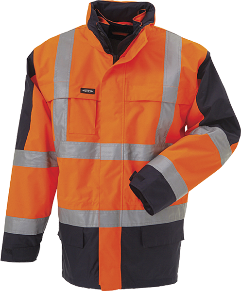 OUTLET - Parka, 3 i 1 jakke, Hi-Vis, kl. 3, 11132 - Orange/Marine