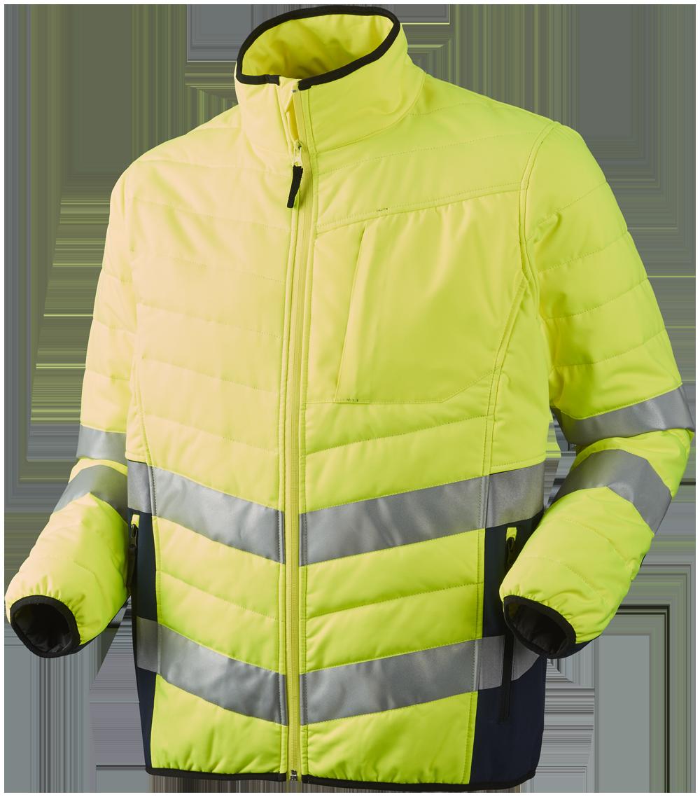 OUTLET - Quiltet jakke, HI-VIS, kl. 3, 11142 - Gul/Marine