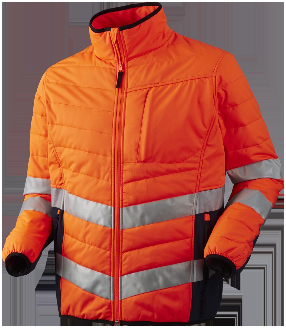 Quiltet jakke, Orange/Marine - 11142
