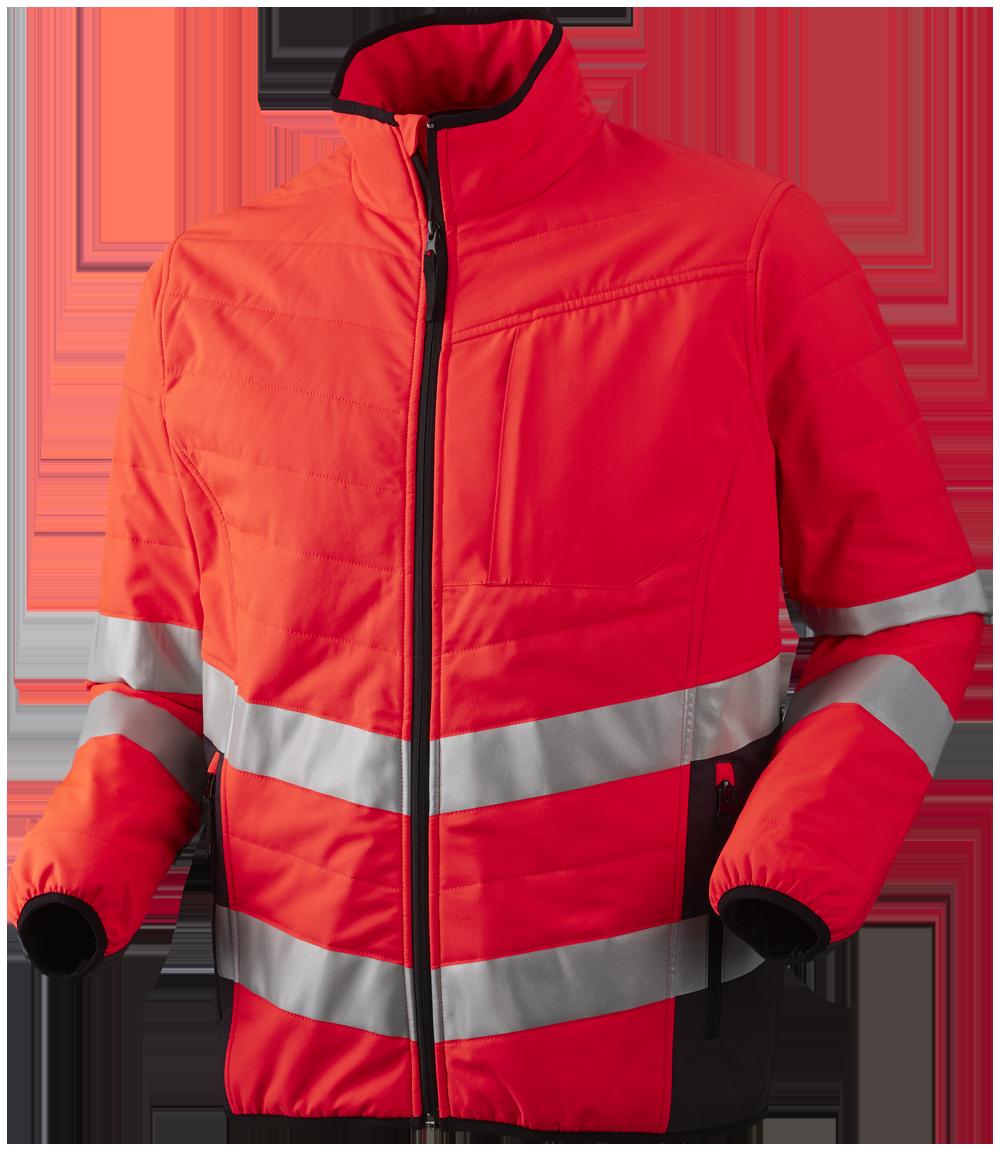 OUTLET - Quiltet jakke, Hi-Vis, Kl. 3, 11142 - Rød/Grå