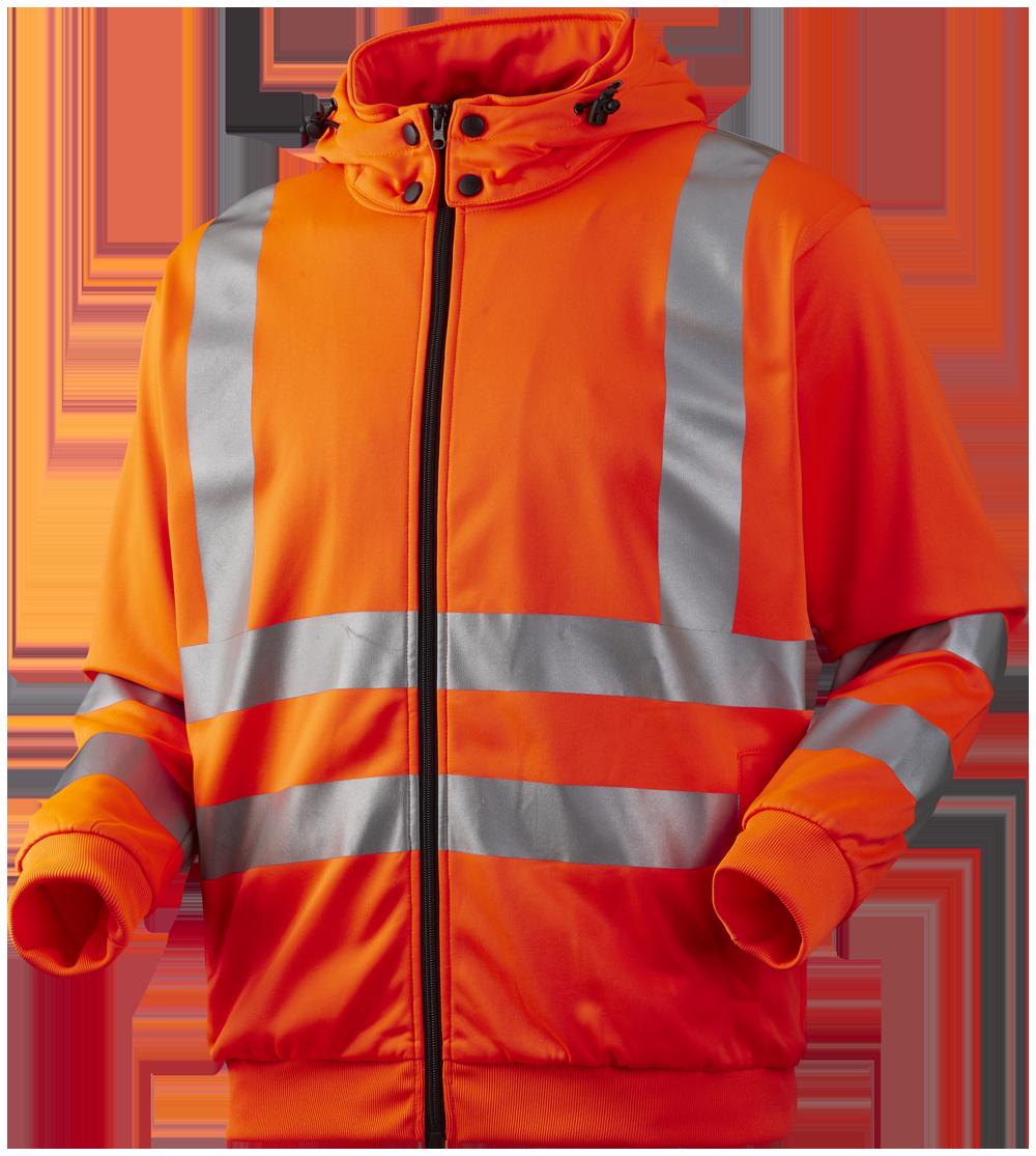 Sweatjakke med aftagelig hætte, Hi-Vis, kl. 3, 11143 - Orange