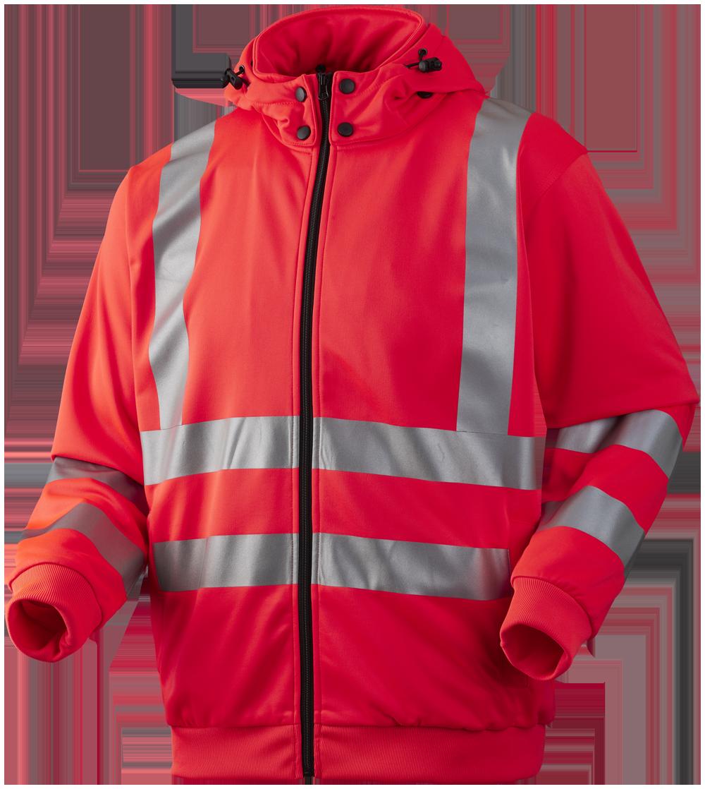 Sweatjakke med aftagelig hætte, Hi-Vis, kl. 3, 11143 - Rød