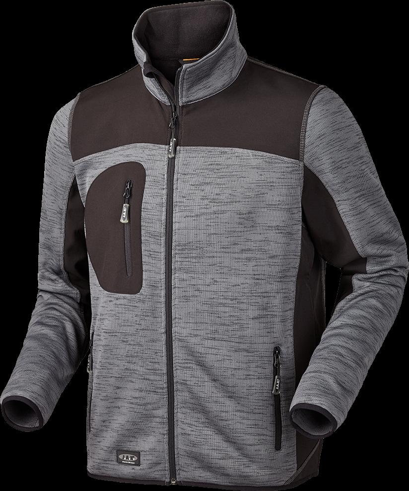 JAK - Strikfleece jakke, 6155 - Koks Melange