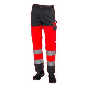 Arbejdsbukser, HI-VIS, kl. 2, 11106 - Rød/Grå